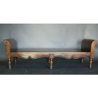 Custom Walnut Wood Double Rolled Arm Bench and Six Legs