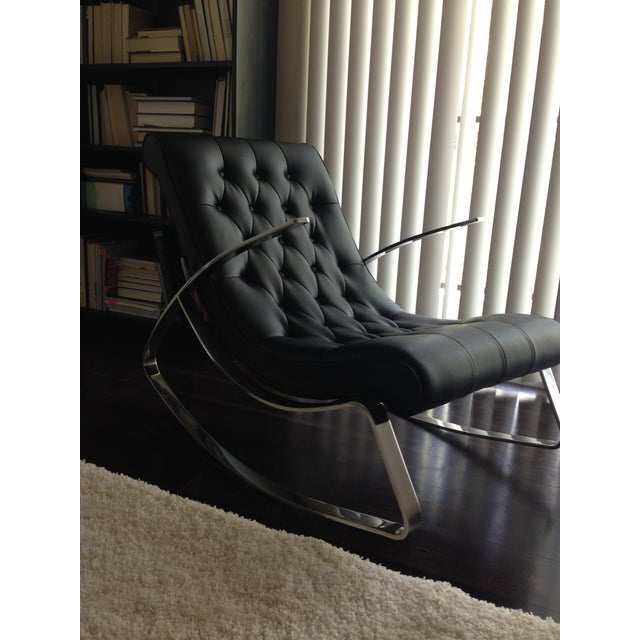 Modern Leather Tufted Rocker - Image 4 of 5