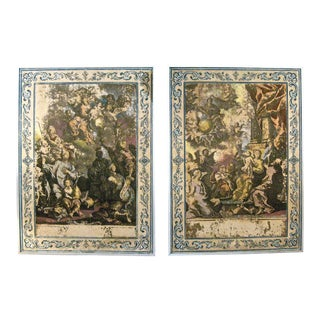 19th Century Italian Framed Wallpaper Panels - a Pair