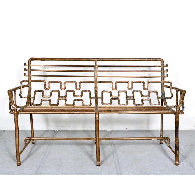 Modern Copper Pipe Bench - Image 2 of 11