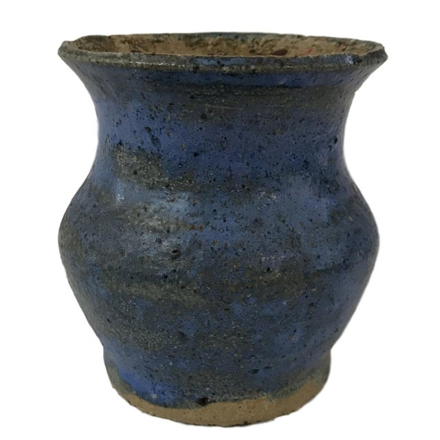 Hand Thrown Blue Textured Vase - Image 1 of 4