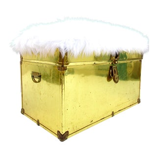 Vintage Brass & Faux Fur Trunk Bench Storage Ottoman