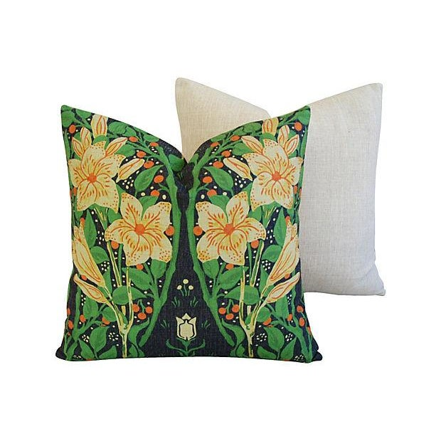 Image of Yellow Star Blossom And Fruit Pillows - Pair