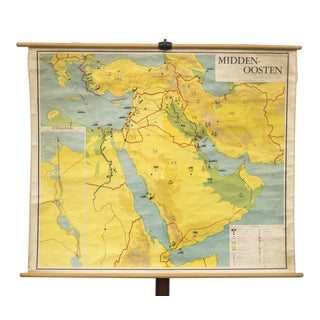 Vintage Dutch School Map of the Suez Canal