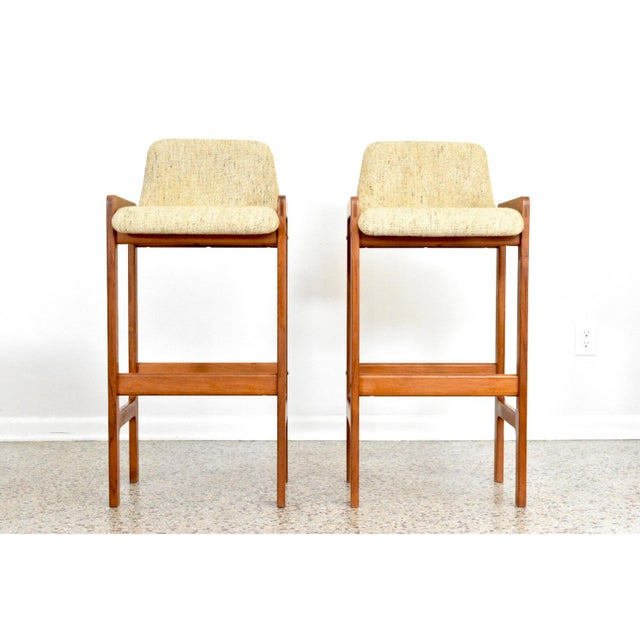 Dixie Furniture Danish Modern Style Teak Bar Stools- A Pair - Image 2 of 5