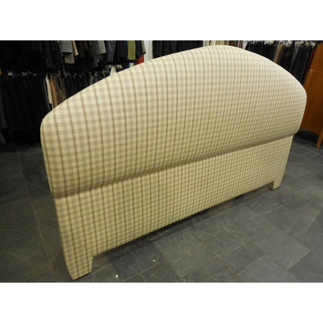 Upholstered Plaid King Headboard - Image 3 of 5
