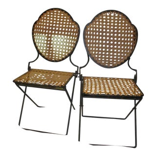 French Iron Beach Chairs With Cane Seats - A Pair