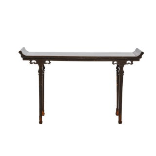 Chinese Dark Brown Lacquer Altar Table with Sword Legs