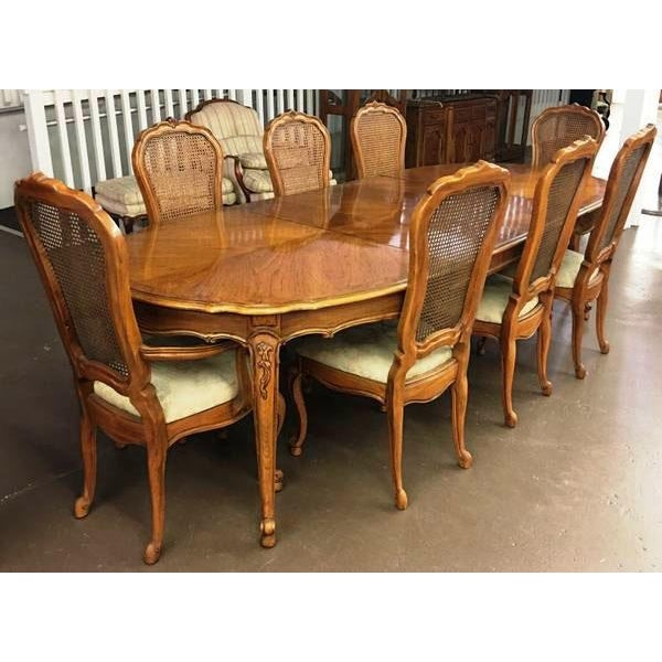 vintage thomasville french court dining table chairs set of 9 chairish. Black Bedroom Furniture Sets. Home Design Ideas