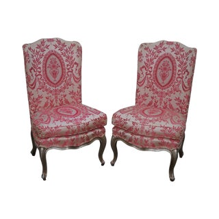 Vintage Pair of French Louis XV Style Silver Gilt Slipper Chairs