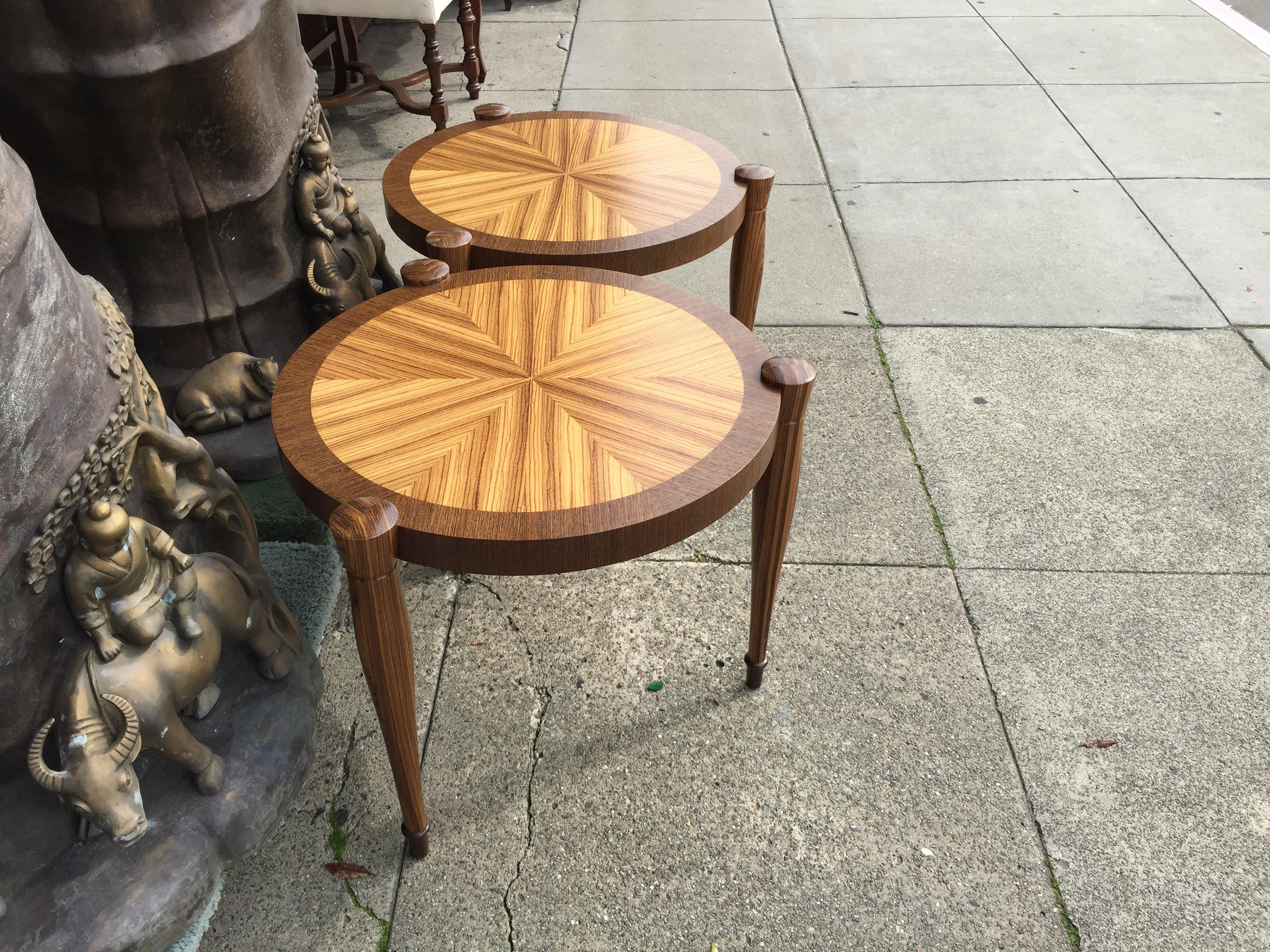 Art Deco Zebra Wood End Tables   A Pair   Image 4 Of 5
