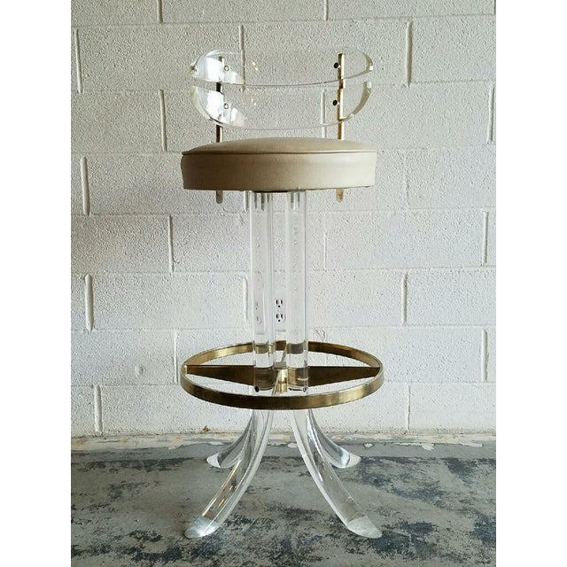 Vintage Lucite & Brass Barstools- A Pair - Image 3 of 6