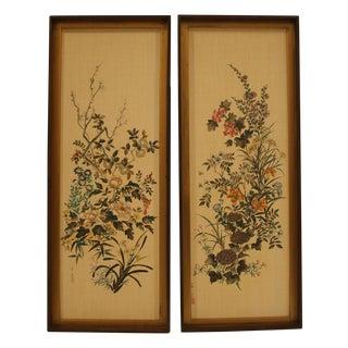 Asian Linen Floral Prints - A Pair