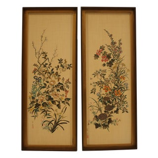 Asian Linen Floral Prints - A Pair