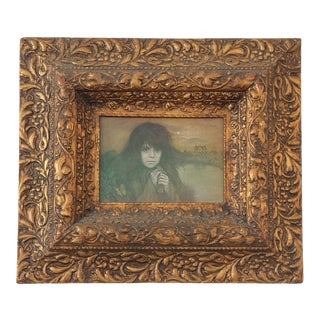 Vintage Lithograph of Young Girl in Antique Gilt Frame