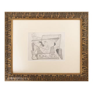 Harold C. Davies Abstract Cubist Pencil Drawing
