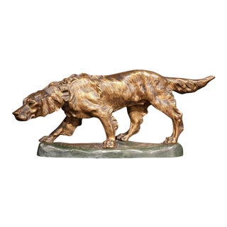 Early 20th Century French Patinated Bronze Hunting Dog Signed T. Cartier