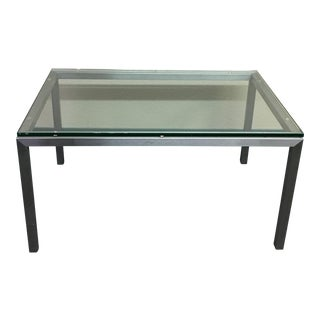 Room & Board Stainless Steel + Glass Cocktail Table