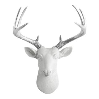 Wall Charmers White & Silver Antler Faux Head