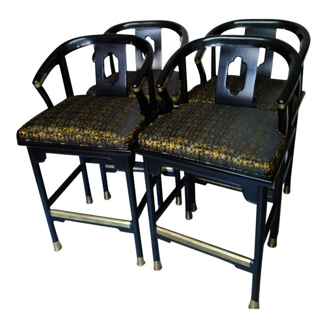 Century Chair Company Hickory Gold & Black Bar Counter Stools - A Pair - Image 1 of 11