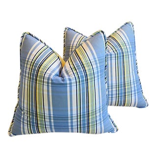 Custom Tailored Blue & Yellow Plaid Feather/Down Pillows - Pair