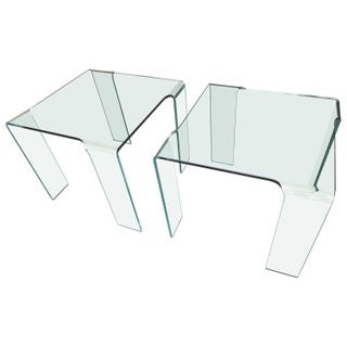 Italian Glass End Tables - Pair