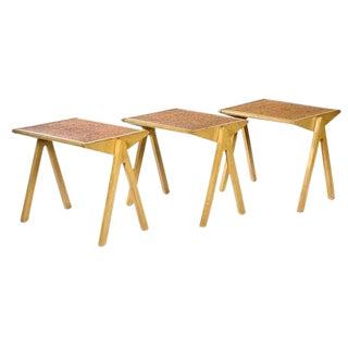 Vintage Jon Jansen Cork Top Stacking Tables - Set of 3