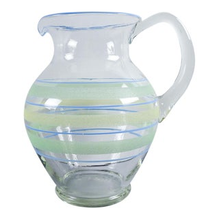 1930s Hand Blown Glass Pitcher