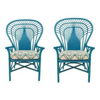 1970s Rattan Fan Back Chairs - A Pair