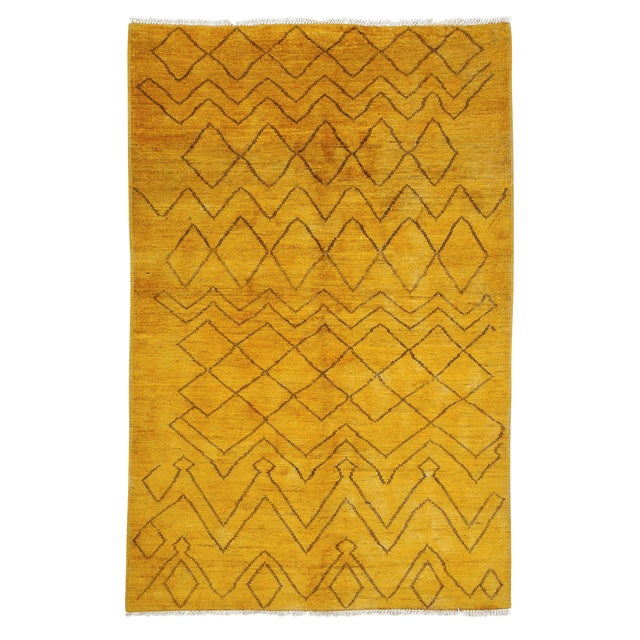 "Moroccan Hand Knotted Area Rug - 5'2"" X 7'10"" - Image 1 of 3"