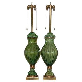 Marbro Green Murano Lamps by Seguso