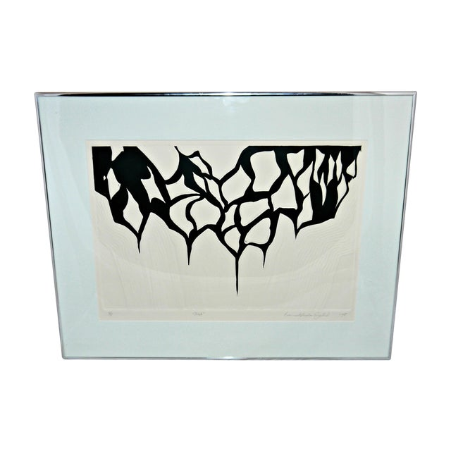 Black and White Abstract Relief Art on Paper - Image 1 of 9