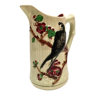 19th Century French Majolica Ceramic Glaze Faux Bois Bird Pitcher