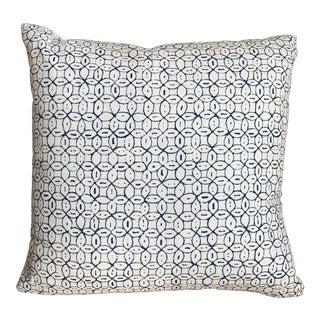 Custom Navy Circles on White Throw Pillow