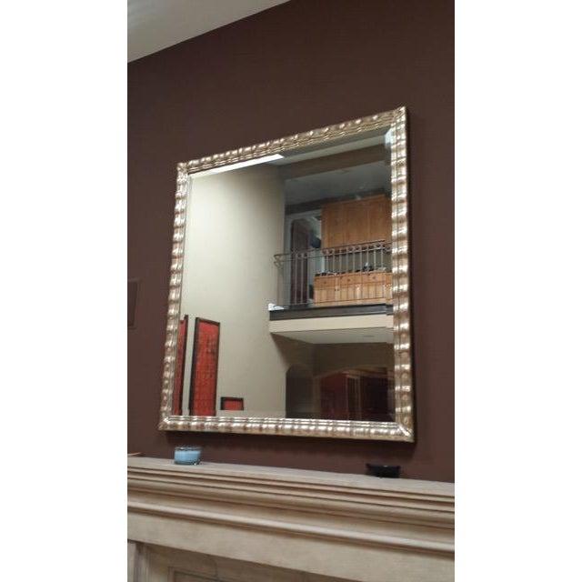 Huge White Gold Wood Mirror, Bevel Antique Finish - Image 2 of 8