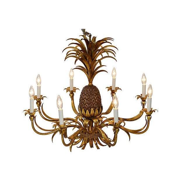 8-Light Tole Pineapple Chandelier - Image 3 of 3