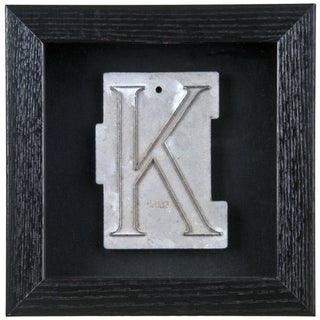 "Framed Mid-Century Spacerite Steel Letter ""K"""