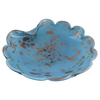 Alfredo Barbini Soft Blue & Copper Spotted Bowl