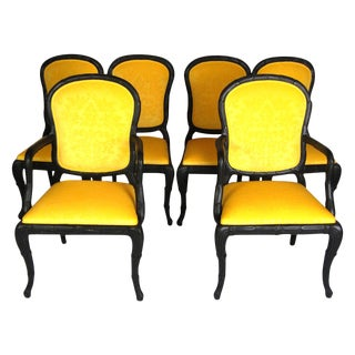 Serge Roche Style Yellow Dining Chairs - Set of 6