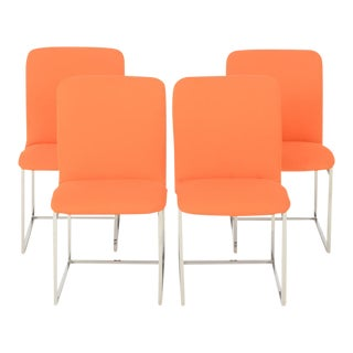 1960s Orange Milo Baughman Chrome Box Dining Chairs - Set of 4