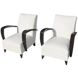 Elegant Pair of French Art Deco Armchairs or Club Chairs Attributed to Rene Prou Circa 1940s.
