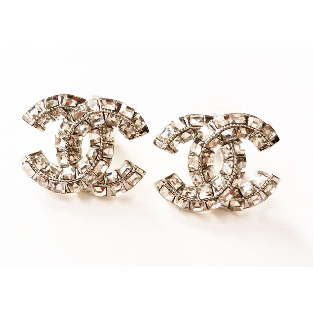 Image of Chanel CC Square Rhinestone Clip On Earrings