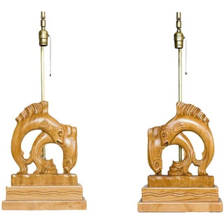 Pair of Yasha Heifetz Carved Oak Flying Fish Table Lamps
