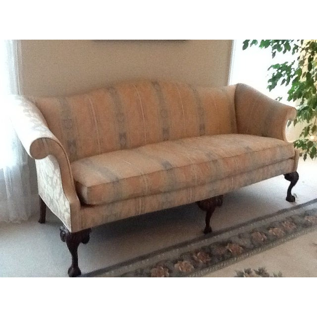 image of queen anne style camelback sofa. Black Bedroom Furniture Sets. Home Design Ideas