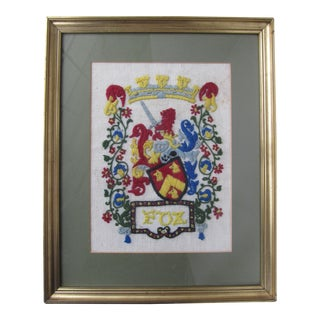 "Vintage Framed ""Fox"" Family Crest"