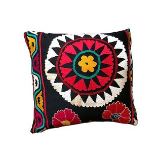 Vintage Suzani Black & Red Pillow