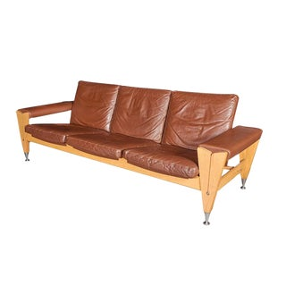 Mid-Century Brown Leather Sofa by Hans Wegner