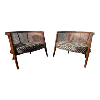 Harvey Probber Model 1066 Cane Back Lounge Chairs - A Pair