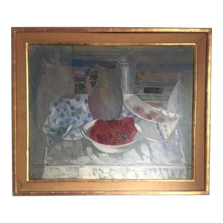 1941 Francisco Bores Still Life Bowl of Red Berries Oil