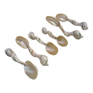 Carved Mother-Of-Pearl Spoons - Set of 6